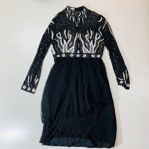 Judith Ann Creations Sequin Beads Dress Sheer Silk